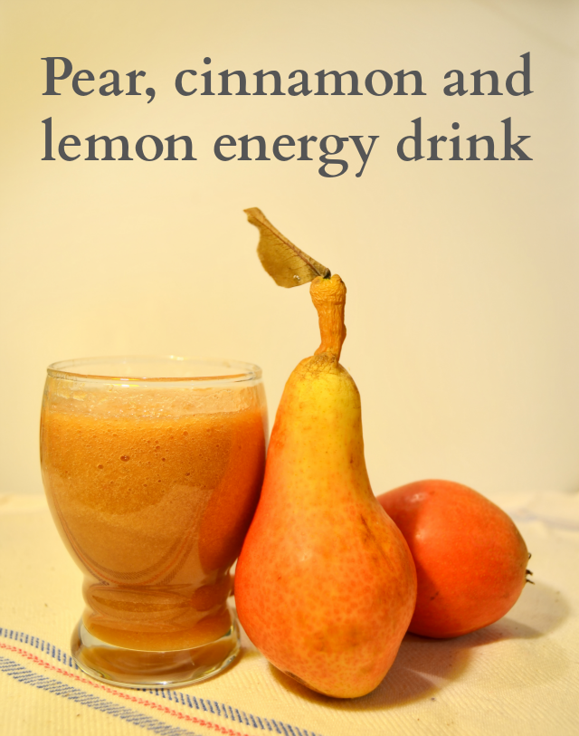 Homemade pear, cinnamon and lemon energy drink
