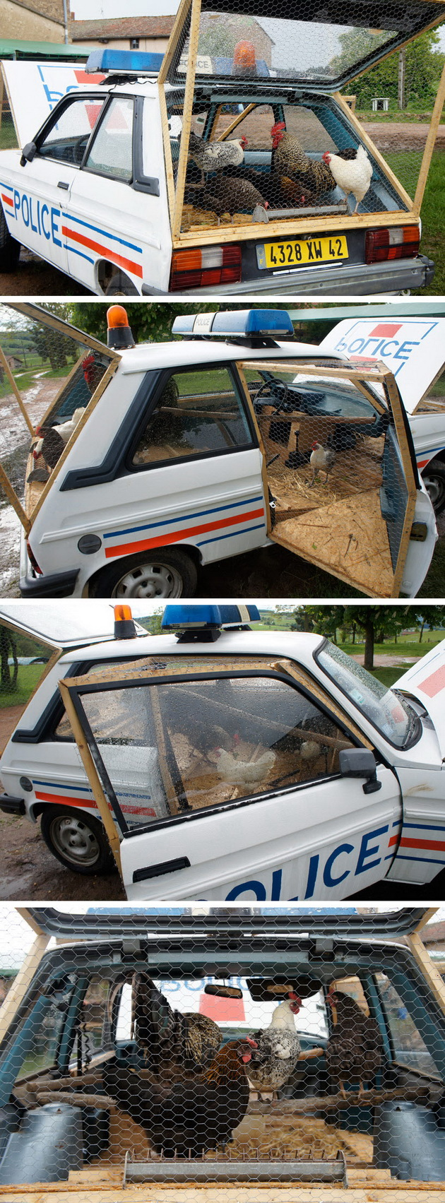 Police Car Turned into Chicken Coop