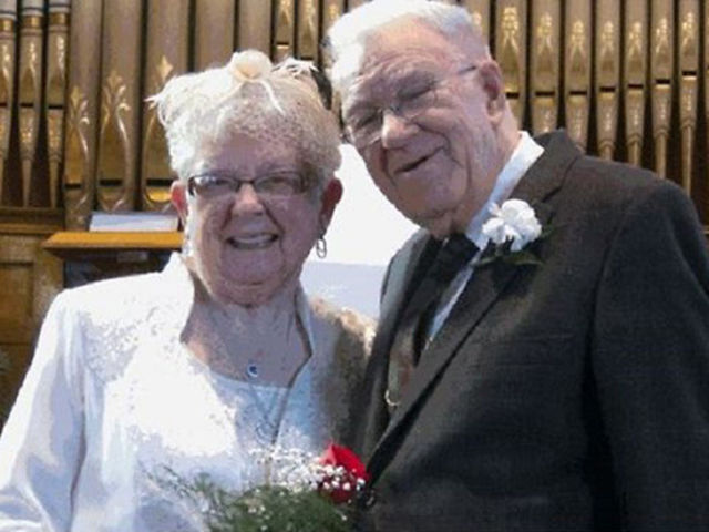 Got married 75 years after the first kiss