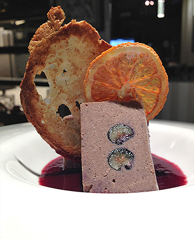 Elk pâté with sour cherry puree boiled in red wine
