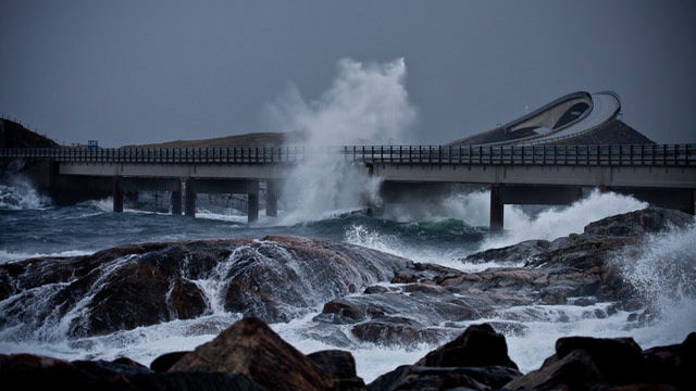 Dangerous Norway's Atlantic Ocean Road