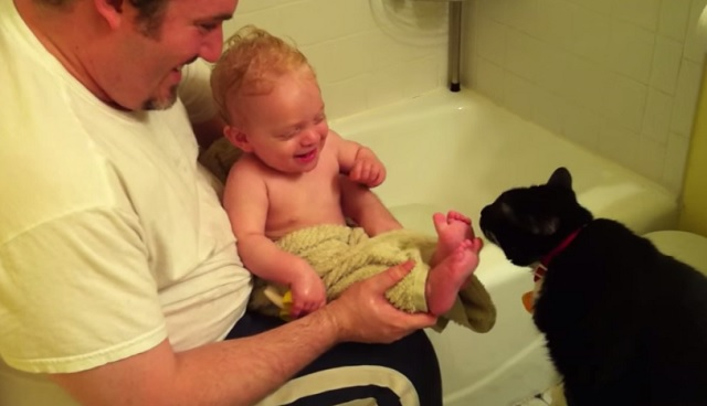 This is how bath time ends every night in this family