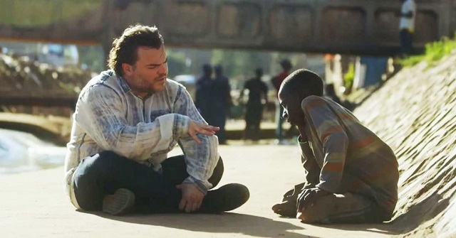 Jack Black meets a homeless child in Africa, and he starts crying when he finds out about the boy's biggest wish