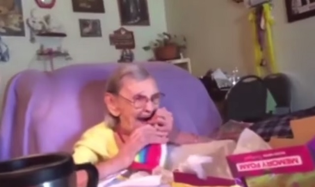 Look at how this lovely old lady reacts when she opens her birthday gift package