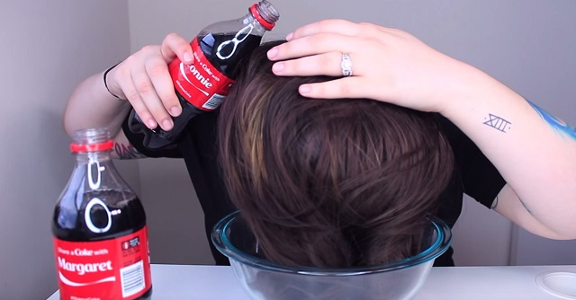 She rinsed her hair with two bottles of Coke - the results were absolutely surprising