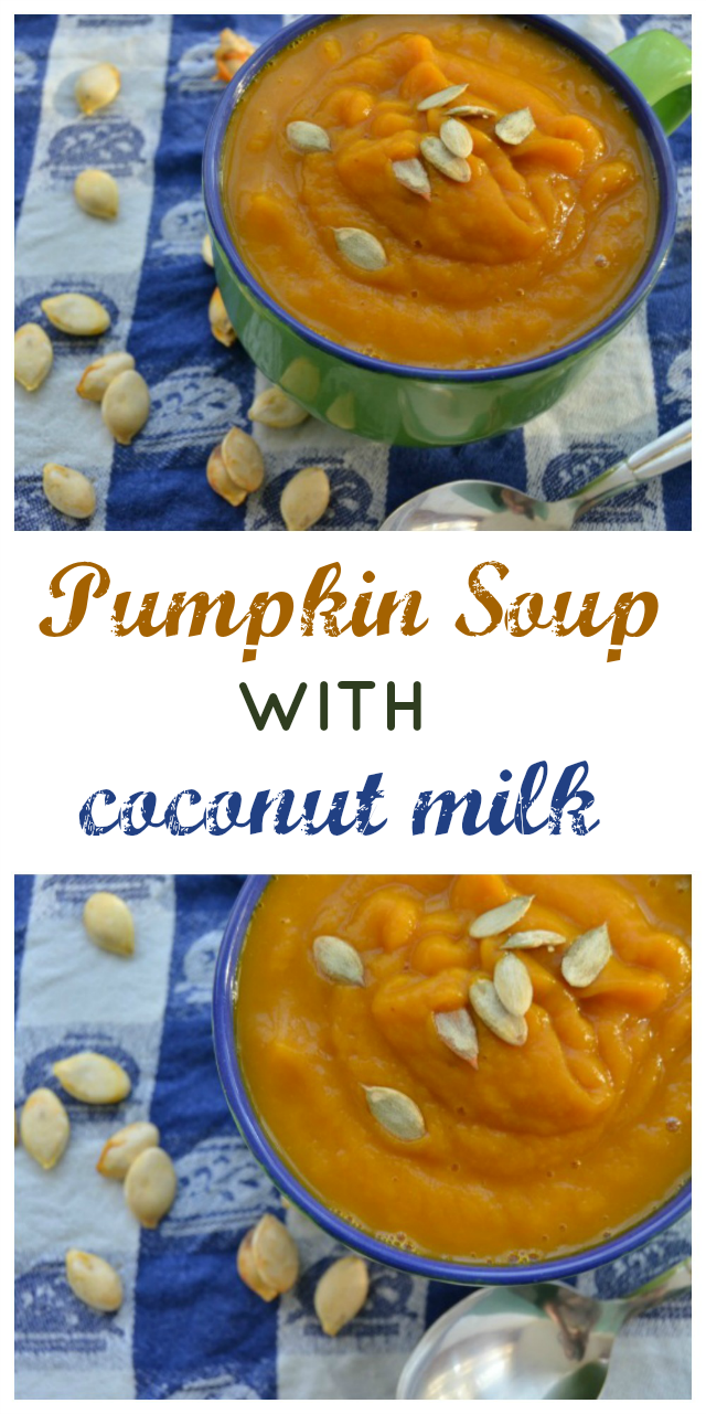 Creamed pumpkin soup with coconut milk