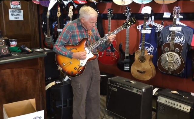 The 81-year-old grandfather grabs the guitar. Several moments later everybody is left speechless
