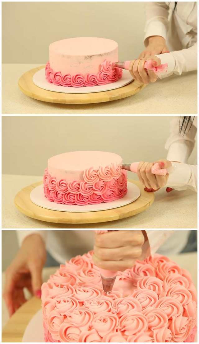 How to Decorate an Ombré Rosette Cake