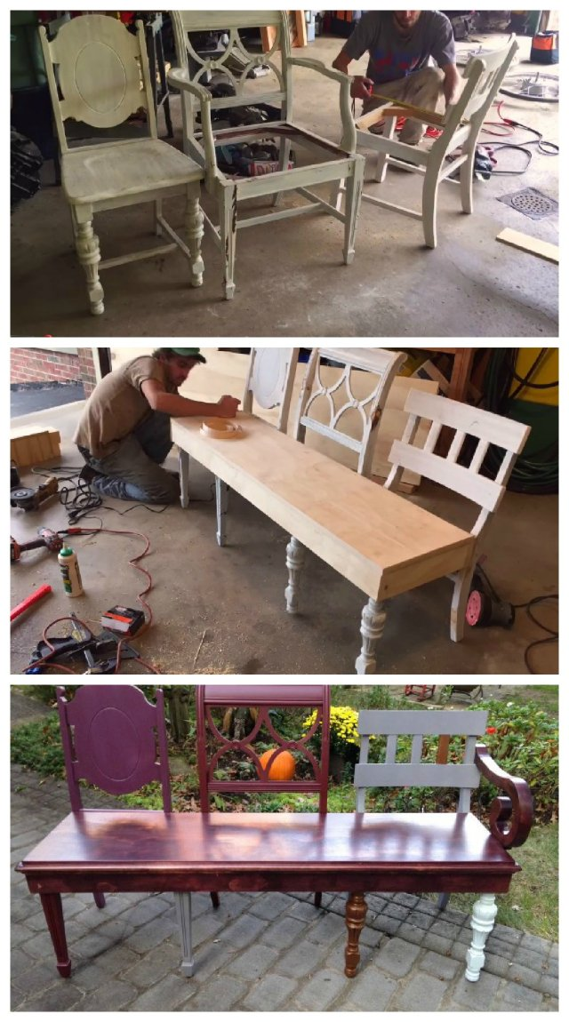 A do-it-yourself bench made from three old chairs