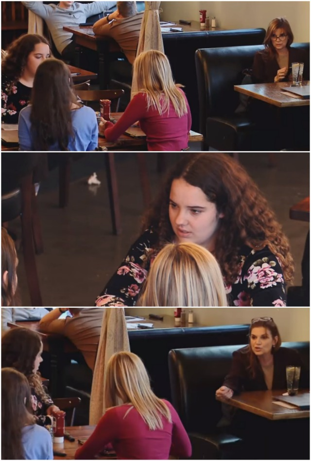 A woman hears these girls laughing at their friend. Her reaction is recorded by the cameras