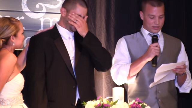 The bride's brother makes the bridegroom cry with laughter at the wedding