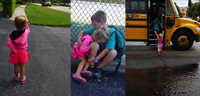 This little girl runs to hug her brother every day. Cutest VIDEO of the day!