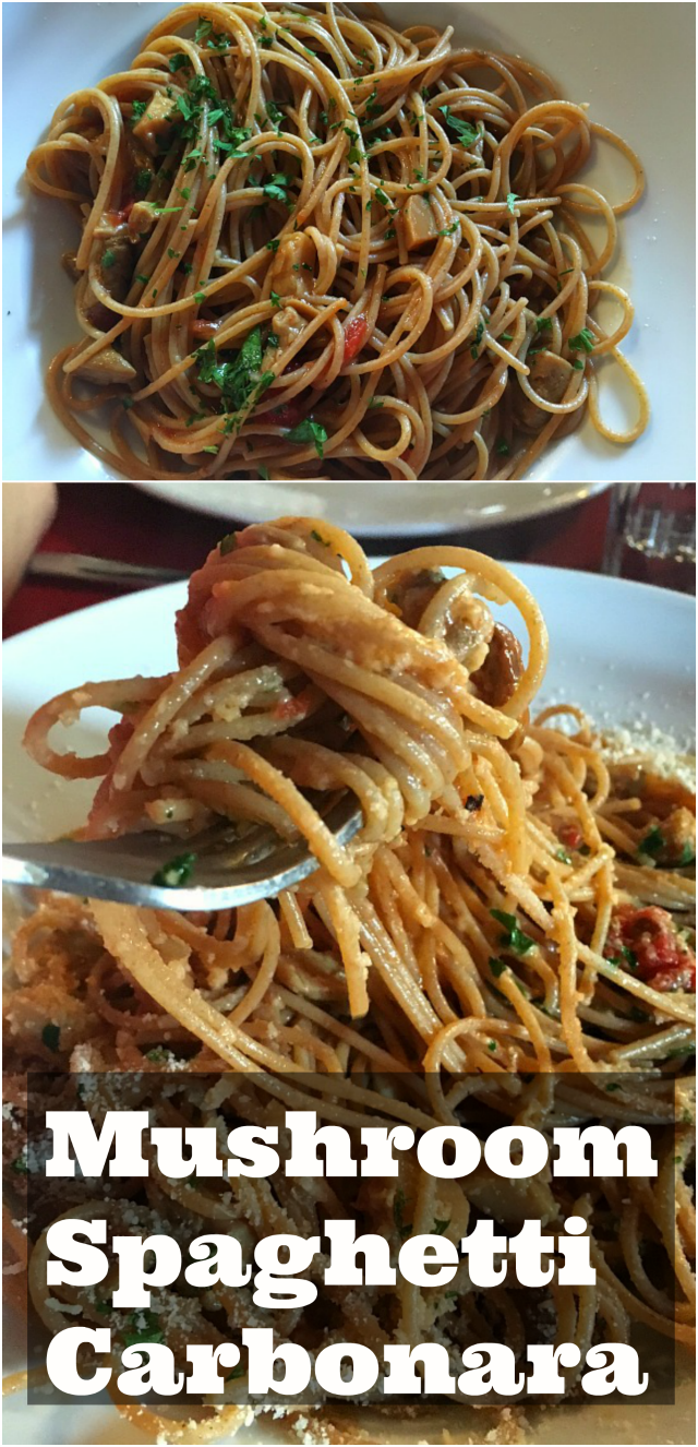 Mushroom spaghetti carbonara
