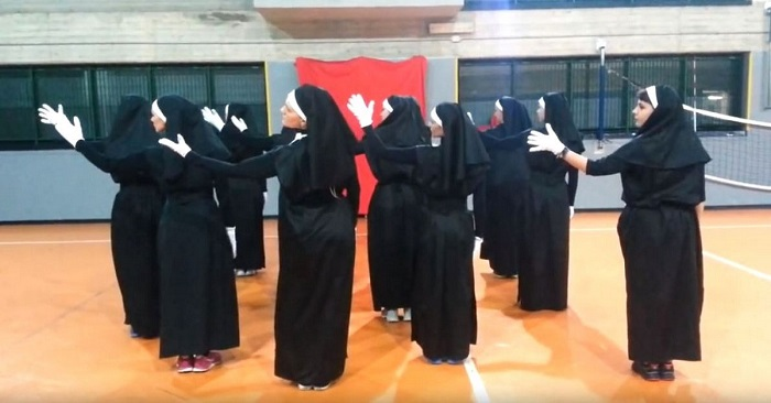 "12 ""nuns"" occupy their places in the formation. A few moments later they leave you speechless"
