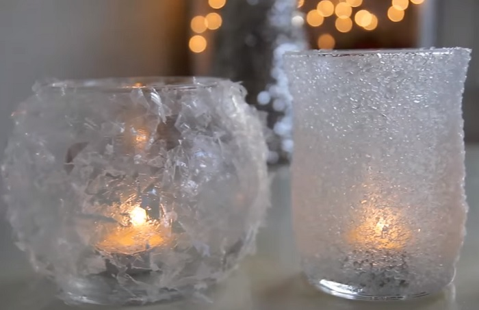 Votive lights from jars rolled in salt